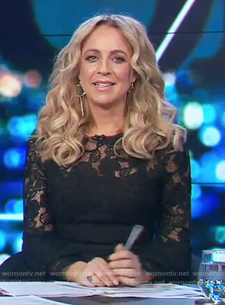 Carrie's black lace bell sleeve dress on The Project