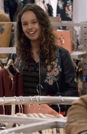 Jessica's black floral print with embroidered butterfly's bomber jacket on 13 Reasons Why