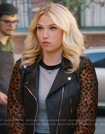 Billy's leather jacket with leopard print sleeves on Famous in Love