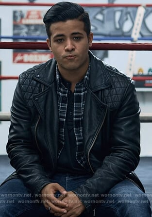 Tony's black quilted moto jacket on 13 Reasons Why