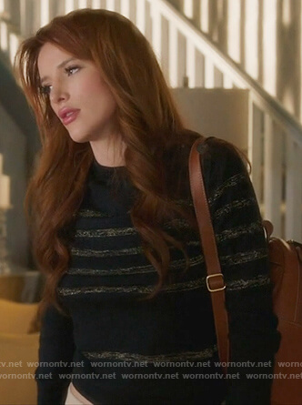 Paige's black metallic striped sweater on Famous in Love