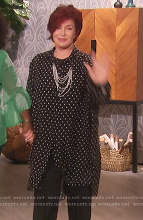 Sharon's black oversized polka dot blouse on The Talk