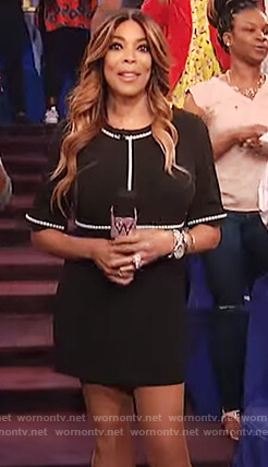 Wendy's black pearl embellished dress on The Wendy Williams Show