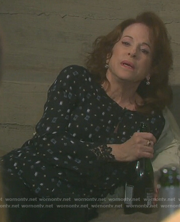 Vivian's black printed lace cuff blouse on Days of our Lives