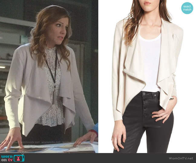 Drape Front Faux Suede Jacket by BlankNYC worn by Tricia Helfer on Lucifer