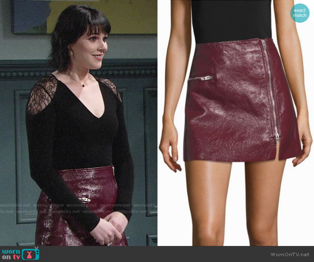 Blank NYC Faux Patent Zip Mini Skirt  worn by Cait Fairbanks on The Young & the Restless