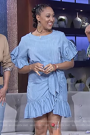 Tamera's ruffled chambray wrap dress on The Real