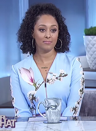 Tamera's blue floral bomber jacket on The Real