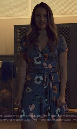 Jessica's blue floral print wrap dress on 13 Reasons Why
