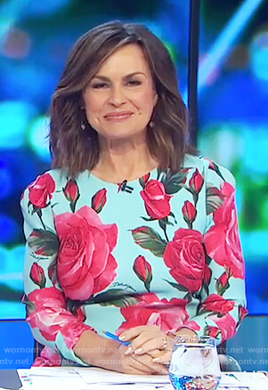 Lisa's teal rose print dress on The Project
