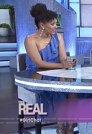 Tamera's blue one shoulder dress on The Real