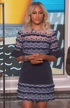 Eve's blue scalloped fringe mini dress on The Talk