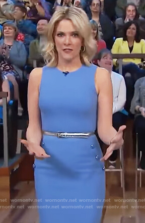 Megyn's blue button detail sheath dress on Megyn Kelly Today
