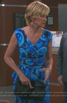 Eve's blue floral print ruffle sheath dress on Days of our Lives