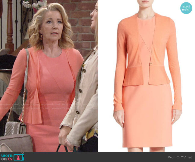 BOSS Demisana Dress and Feline Cardigan worn by Melody Thomas-Scott on The Young & the Restless