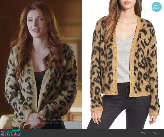 Leopard Print Jacquard Cardigan by BP. worn by Paige Townsen (Bella Thorne) on Famous in Love