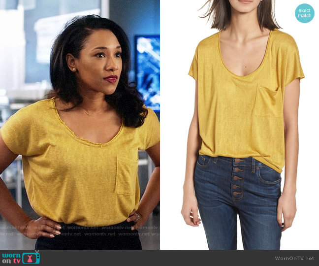 BP Slub Knit Tee worn by Candice Patton on The Flash