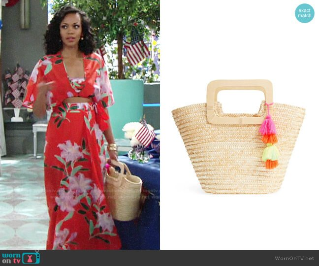BP Straw Ring Handle Basket Tote worn by Hilary Curtis (Mishael Morgan) on The Young & the Restless