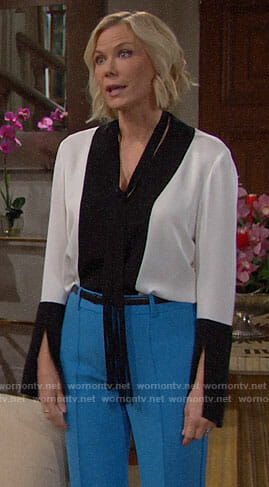 Brooke's black and white blouse on The Bold and the Beautiful