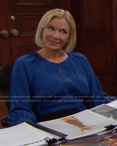 Brooke's blue keyhole blouse on The Bold and the Beautiful