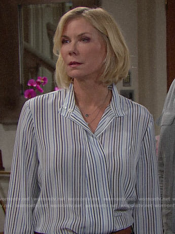 Brooke's striped blouse on The Bold and the Beautiful
