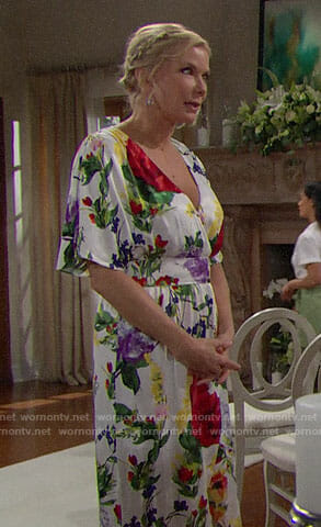 Brooke's watercolor floral dress on The Bold and the Beautiful