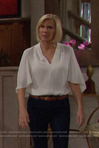 Brooke's white v-neck top on The Bold and the Beautiful