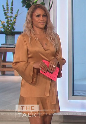 Eve's gold satin wrap dress on The Talk