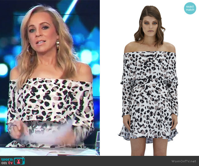 Latte Leopard Mini Flip Dress by By Johnny. worn by Carrie Bickmore  on The Project