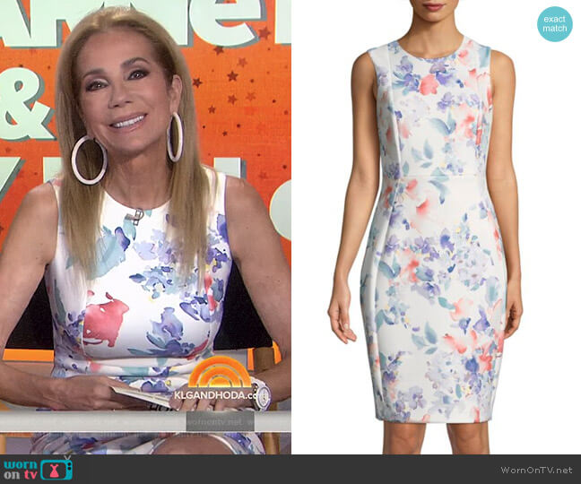Sleeveless Floral Sheath Dress by Calvin Klein worn by Kathie Lee Gifford (Kathie Lee Gifford) on Today