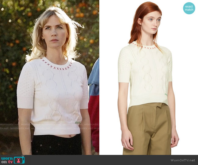 Carven Off-White Embroidered Sweater worn by January Jones on Last Man On Earth