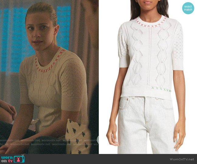 Carven Off-White Embroidered Sweater by Carven worn by Lili Reinhart on Riverdale