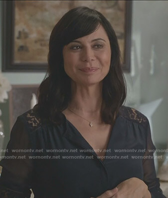 Cassie's navy lace inset blouse on Good Witch