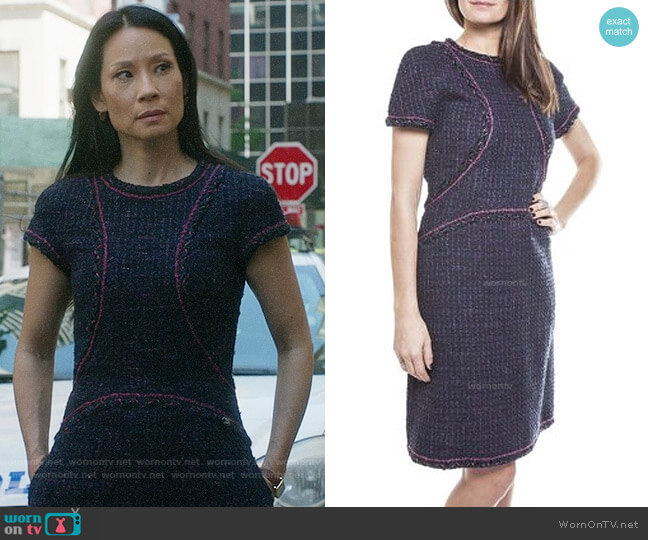 Chanel Tweed Dress worn by Lucy Liu on Elementary