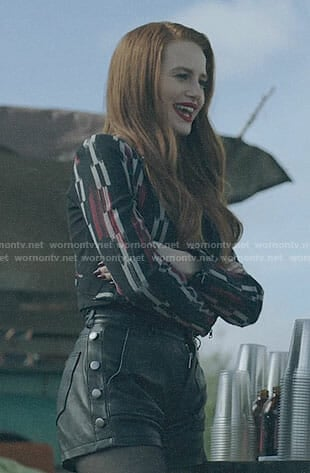 Cheryl's black and red printed jacket and leather shorts on Riverdale
