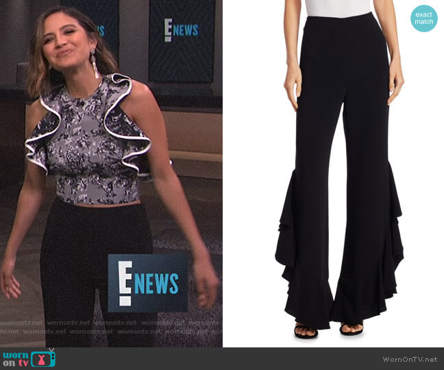 'Helena' Ruffle Pants by Cinq a Sept worn by Erin Lim on E! News