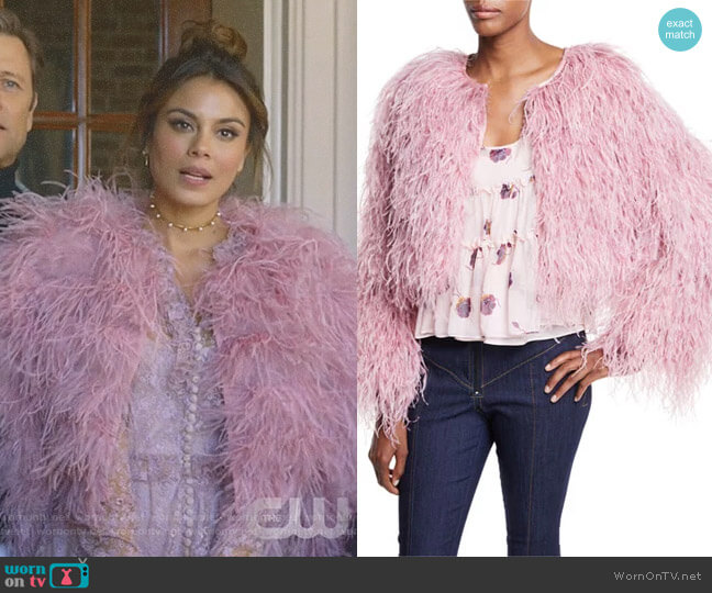 'Lennox' Cropped Feather Jacket by Cinq à Sept worn by Nathalie Kelley on Dynasty