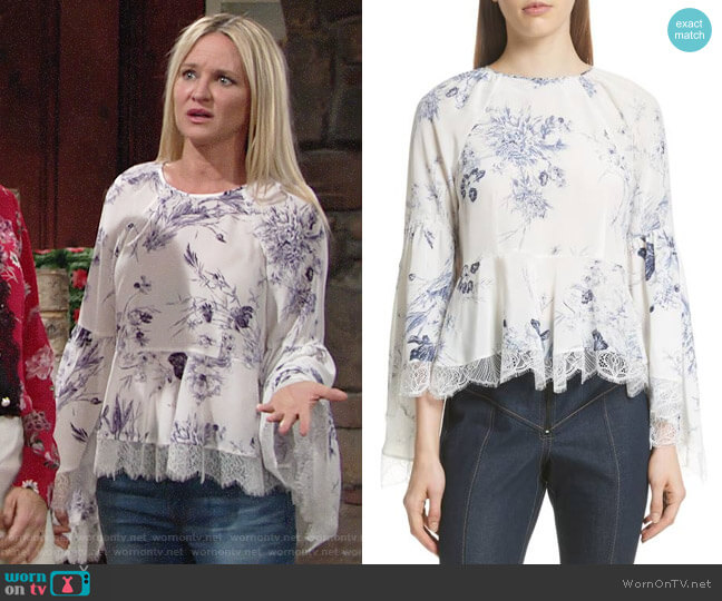 Cinq a Sept Avalon Top worn by Sharon Case on The Young & the Restless