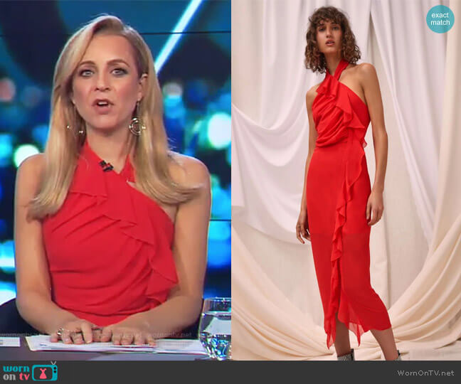 Elude Midi Dress by C/Meo Collective worn by Carrie Bickmore on The Project