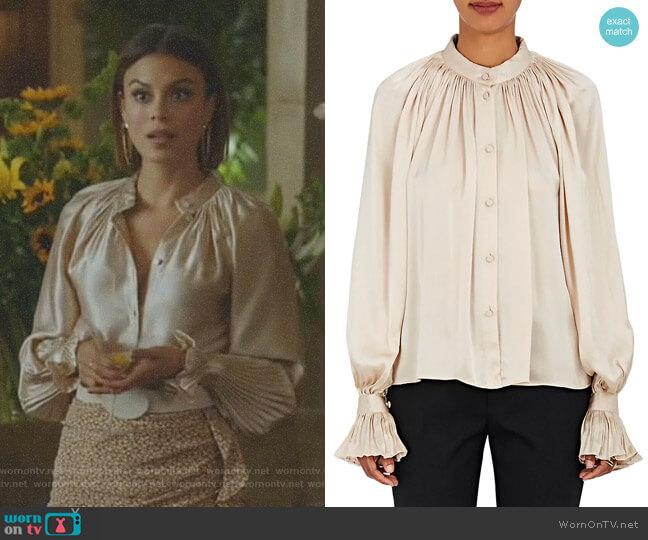 Pleated Silk Satin Blouse by Co worn by Nathalie Kelley on Dynasty