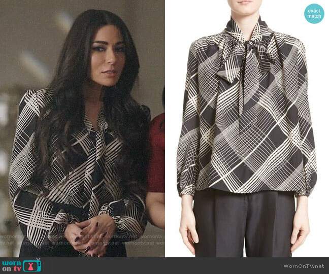 Co Plaid Silk Tie Neck Blouse worn by Marisol Nichols on Riverdale