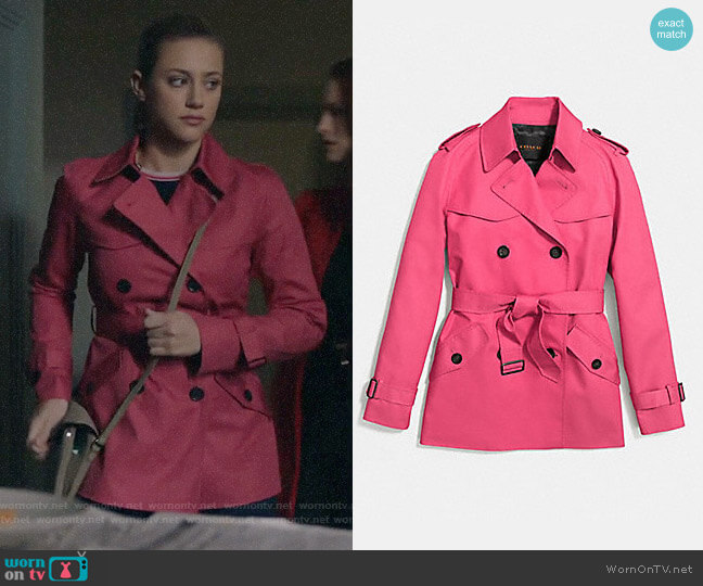 Coach Short Trench in Strawberry worn by Lili Reinhart on Riverdale