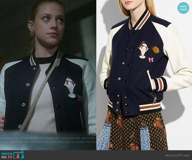 Coach Varsity Jacket worn by Lili Reinhart on Riverdale