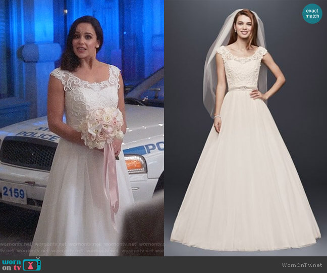 Davids Bridal Tulle Wedding Dress with Lace Illusion Neckline worn by Amy Santiago (Melissa Fumero) on Brooklyn Nine-Nine