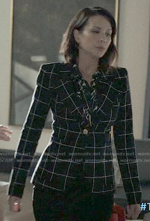 Deann's black checked blazer on The Arrangement
