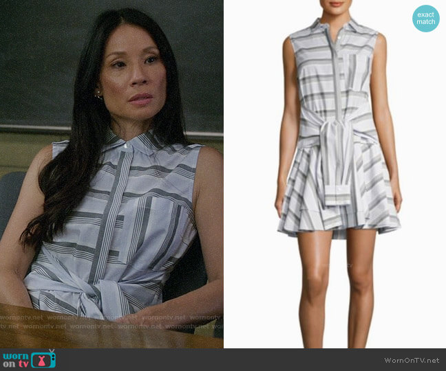 Derek Lam 10 Crosby Tie-Front Striped Shirtdress worn by Lucy Liu on Elementary