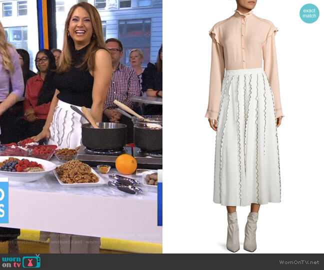 Ruffle Midi Skirt by Derek Lam worn by Ginger Zee on Good Morning America