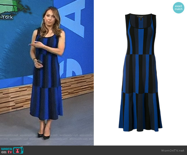 Striped Scoop Neck Dress by Derek Lam worn by Ginger Zee on Good Morning America