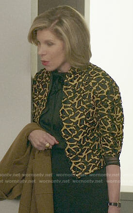 Diane's black and gold patterned jacket on The Good Fight