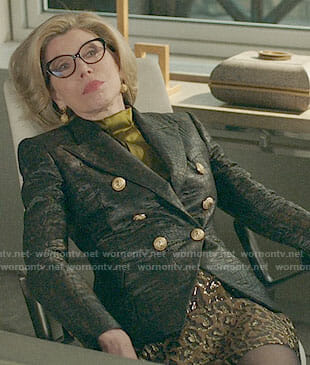 Diane's leather blazer and leopard skirt on The Good Fight